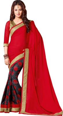 Queenbee Embellished, Self Design, Printed Fashion Georgette Sari