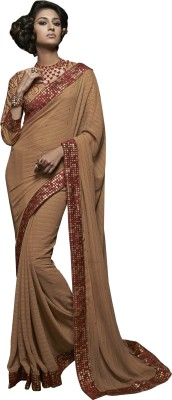 Dilwaa Self Design, Embriodered, Embellished Fashion Georgette Sari