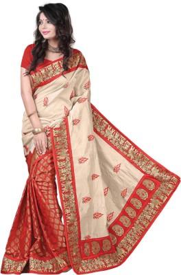 Festivemall Embriodered Fashion Art Silk Sari