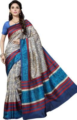 Rani Saahiba Printed Bhagalpuri Handloom Pure Silk, Dupion Silk Sari(Beige)