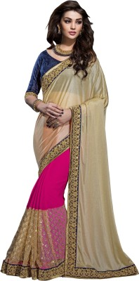 Crafts N Culture Embriodered, Woven Fashion Georgette, Net Sari