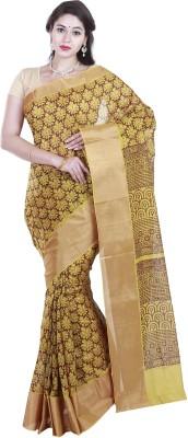 BrindavanSilks Printed Daily Wear Poly Silk, Polycotton Sari