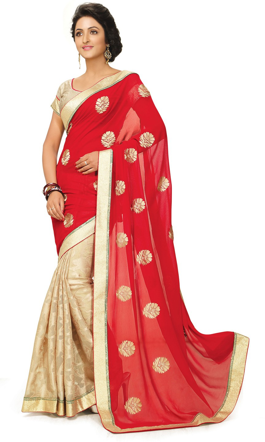 Indianbeauty Self Design, Embroidered Bollywood Georgette Sari(Red, Beige)