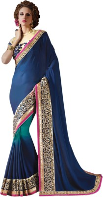 Bhavi Embroidered Fashion Georgette Saree(Blue) at flipkart
