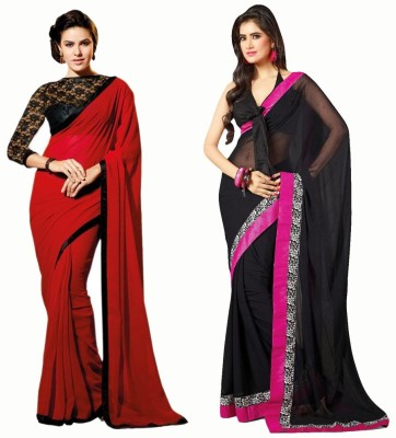 Bhuwal Fashion Self Design Fashion Chiffon Saree(Pack of 2, Red, Black)