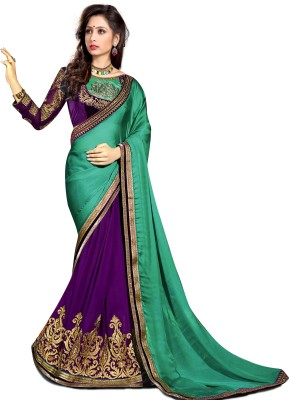 Krishna Prints Embriodered Fashion Georgette, Satin Sari