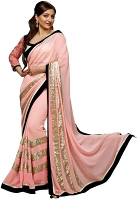 Prabha Creation Solid, Embellished Fashion Georgette Sari