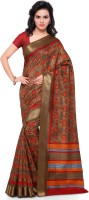 Kvsfab Printed Fashion Printed Silk Sari(Beige, Red)