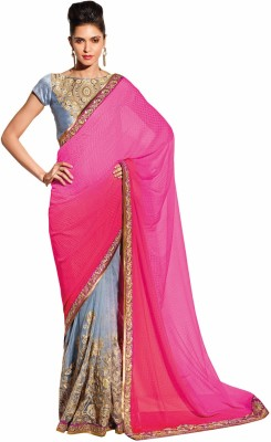 Heart & Soul Self Design Fashion Chiffon, Jacquard Sari