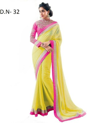 Sumitra Designs Plain Fashion Chiffon Sari