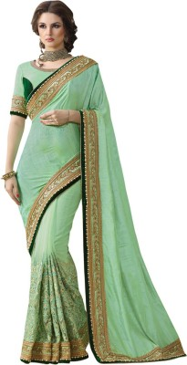 Saara Embroidered Fashion Silk, Net Saree(Green) at flipkart