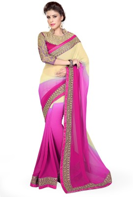 Sourbh Sarees Embroidered Fashion Georgette Saree(Pink, Beige) at flipkart