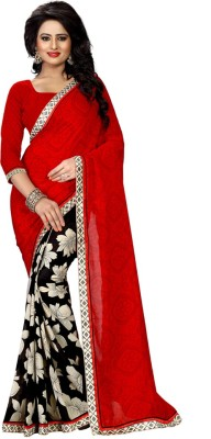 Heena Printed Bollywood Georgette Saree(Red, Black) at flipkart