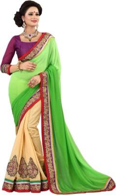Shivam Textiles Embellished Fashion Chiffon, Lace Sari