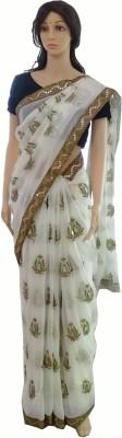 INDIANA FAB Embellished, Embriodered Fashion Chiffon Sari