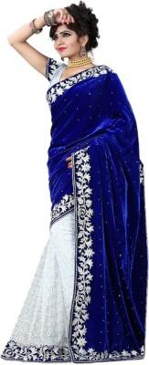 M.D's Collection Self Design Fashion Velvet, Lace Sari