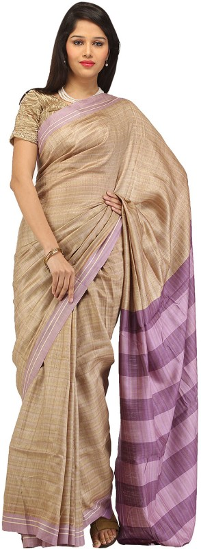 Romi's Striped Bhagalpuri Handloom Tussar Silk Saree(Purple)