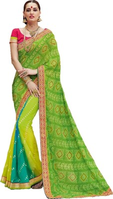 Ps Enterprise Printed Bandhej Georgette Sari
