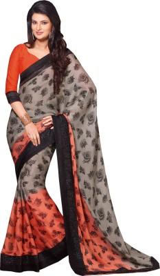 Queenbee Floral Print, Self Design, Embellished Fashion Georgette Sari