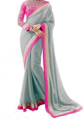 Crishna Enterprises Embellished, Embriodered Fashion Chiffon Sari