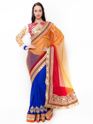 Triveni Self Design Fashion Georgette Saree(Multicolor) at flipkart