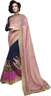 Manish Creation Embellished, Embriodered, Self Design Lehenga Saree Net, Georgette, Raw Silk Sari