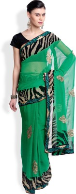 Utsava Animal Print Bollywood Chiffon Sari
