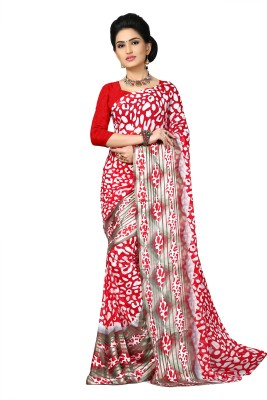 Oomph! Printed Fashion Chiffon, Chiffon Saree(Red) at flipkart