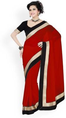 Winza Plain, Solid, Self Design Fashion Georgette Sari