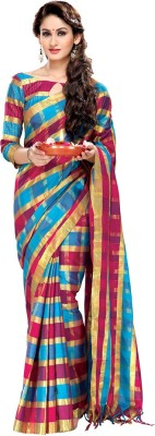 EvaFashion Checkered Bollywood Handloom Cotton Linen Blend Sari