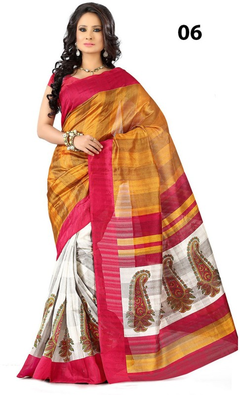 Vandv Shop Printed Bhagalpuri Handloom Silk Saree(White)