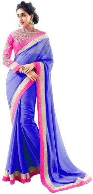 Frocksme Solid Bollywood Pure Georgette Sari