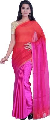 Sampradaaya Plain Fashion Satin, Chiffon Sari