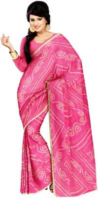 ZARIBUTI Digital Prints Bandhej Pure Chiffon Sari