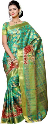 Mimosa Embellished Kanjivaram Art Silk Saree(Green) at flipkart
