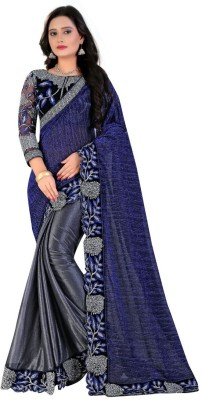 KedarFab Embroidered Bollywood Lycra Saree(Grey) at flipkart
