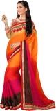 Manvaa Self Design Fashion Georgette Sar...