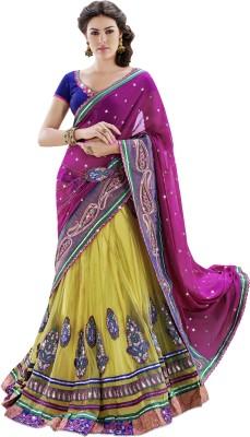 MAHOTSAV Self Design Fashion Georgette, Net, Satin Saree(Pink, Yellow) at flipkart