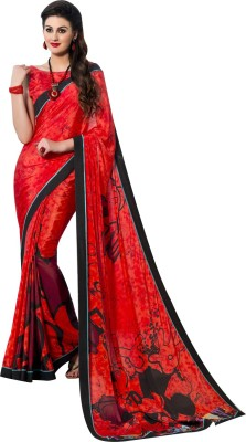 Reet Creation Printed, Solid Fashion Crepe Sari