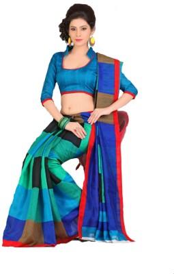 Swaranjali Checkered, Geometric Print Fashion Art Silk, Cotton Sari