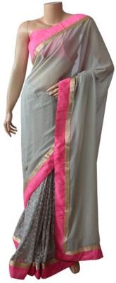 BEAUVILLE VAIIBAVAM Embriodered Fashion Net, Georgette, Raw Silk Sari