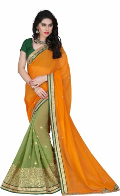 Fabista Embriodered Fashion Chiffon, Net Sari