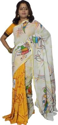 KheyaliBoutique Applique, Graphic Print Tant Handloom Cotton Sari