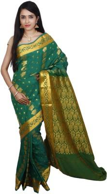PSK Silks Self Design Kumbakonam Silk, Cotton Sari