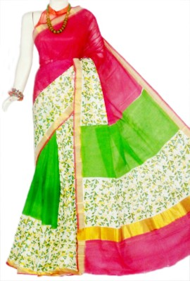 MCLS FASHION Hand Painted, Floral Print Fashion Cotton Sari