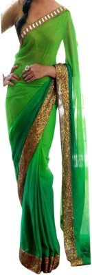 Dertaste Plain Bollywood Georgette Sari