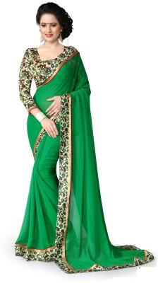 Fashion Queen Self Design, Solid, Printed Fashion Georgette Sari