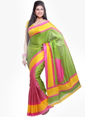 The Designer House Printed, Striped Fashion Art Silk Sari