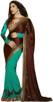 The Color Tex Embriodered Bollywood Georgette, Satin, Raw Silk Sari