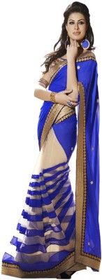 Krishna Fab Self Design Bollywood Handloom Chiffon, Net Sari